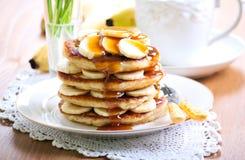 Pile of banana pancakes Royalty Free Stock Photography