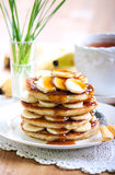 Pile of banana pancakes Stock Images