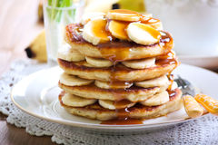 Pile of banana pancakes Stock Image