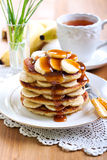 Pile of banana pancakes Royalty Free Stock Photo