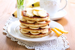 Pile of banana pancakes Stock Photography