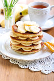 Pile of banana pancakes Royalty Free Stock Images