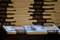 Pile of banknotes. Pile of one hundred dollar banknotes Stock Photo