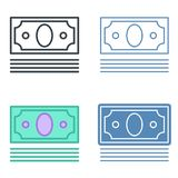 A pile of banknotes vector outline icon set. Money, business and finance line symbols and pictograms. Vector thin contour infographic element. Concept Royalty Free Stock Photo