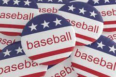Pile of Baseball Buttons With US Flag, 3d illustration