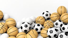 Pile of basket, volley and football balls Royalty Free Stock Photo
