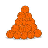 Pile of basketball ball. many of orange balls. Sports accessory.  Stock Photos