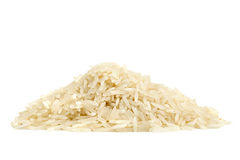 Pile of basmati rice. On white background Stock Images