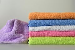 Pile of bath towels. Pile of colorful bath towels Stock Photo