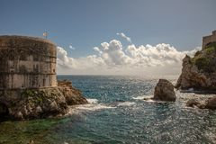 Pile Bay, Dubrovnik old town city wall and fortress Lovrijenac royalty free stock image