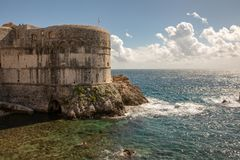 Pile Bay and the wall of Dubrovnik old town in Croatia stock photography
