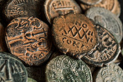 Pile of beautiful ancient copper coins Royalty Free Stock Photography