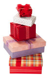 Pile of beautiful gift boxes with bows Royalty Free Stock Image