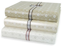 The pile of beautiful photo albums on white backround Stock Images