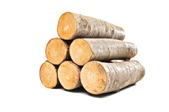 Pile of beech firewood. On white background Royalty Free Stock Image