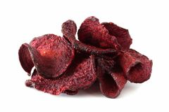 Pile of beet chips isolated on white Royalty Free Stock Photos