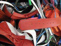 Pile of belts background Stock Photos