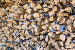 Pile of birch firewood. A pile of birch firewood on a clear sunny day, a stack of birch firewood on a clear sunny day Royalty Free Stock Images