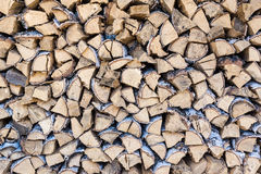 Pile of birch firewood. A pile of birch firewood on a clear sunny day, a stack of birch firewood on a clear sunny day Royalty Free Stock Image