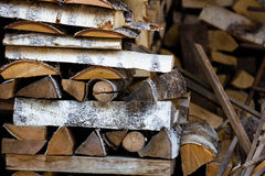 Pile of birch firewood Royalty Free Stock Image