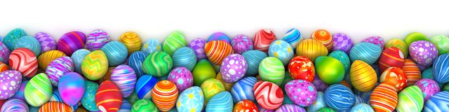Pile of birght and colorful Easter Eggs. 3d render Royalty Free Stock Photography