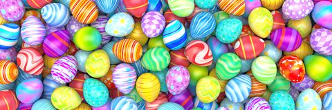 Pile of birght and colorful Easter Eggs. 3d render Stock Photography