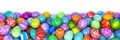 Pile of birght and colorful Easter Eggs. 3d render Stock Photo