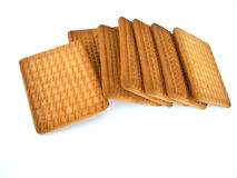 Pile of biscuits. Pile of rectangular brown biscuits isolated on white background Royalty Free Stock Photo