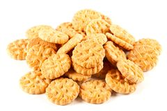 Pile of biscuits isolated on white Royalty Free Stock Photos