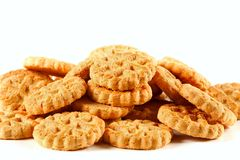 Pile of biscuits isolated on white Stock Photo
