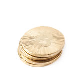 Pile of bitcoin currency tokens isolated Stock Images