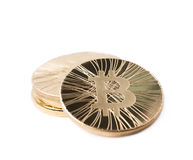 Pile of bitcoin currency tokens isolated Royalty Free Stock Photography
