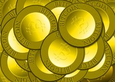 Pile of Bitcoin Gold Coins Royalty Free Stock Photos