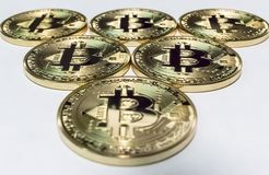 Triangle of bitcoins royalty free stock photo