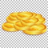 Pile Bitcoins sur le fond transparent Images stock