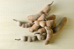 Pile of bitter gourd or tamarind  on wooden background Stock Photos