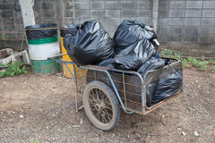 Pile of black bags garbage prepare waste Royalty Free Stock Photo
