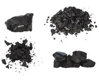 Pile black coal isolated Stock Images
