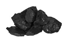 pile black coal isolated on white Stock Images