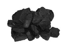 Pile black coal isolated on white Royalty Free Stock Photo