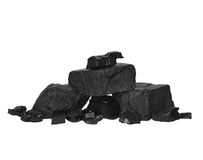 Pile black coal isolated on white Royalty Free Stock Images