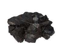 Pile black coal isolated on white Royalty Free Stock Photos