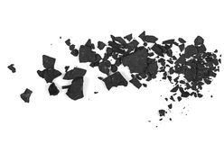 Pile black coal isolated on white texture Royalty Free Stock Photo