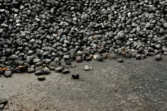 Pile of black coal at a railway station coal shed. Pile of black coal at a railway station coal shed, with empty space flooring in the foreground royalty free stock images