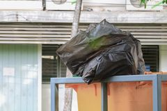 Pile of black garbage bag Stock Photography