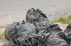 Pile of black garbage bag Royalty Free Stock Images