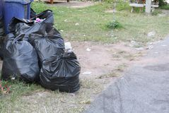 Pile of black garbage bag Stock Images