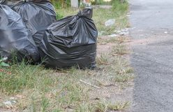 Pile of black garbage bag Stock Image