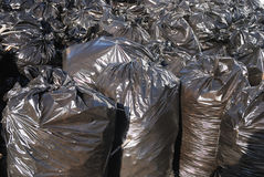 Pile of black garbage bags Stock Photo