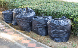 Pile of black garbage bags Royalty Free Stock Photo